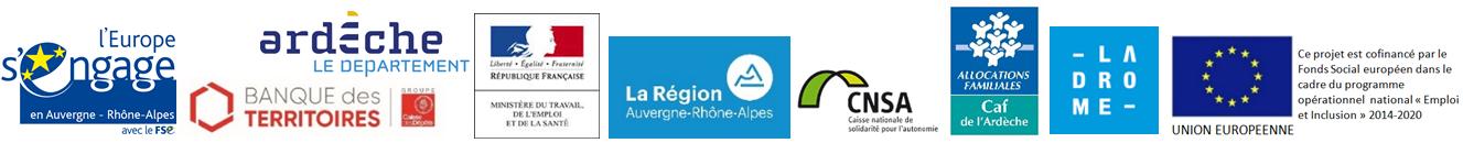 Bandeau de logos financeurs DLA 26 et 07 - 2019